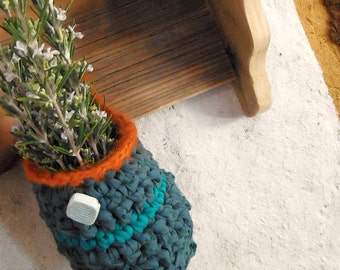 Green crochet hanging storage basket -fabric green and orange rag basket home decor