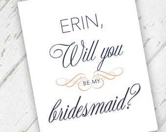 Blush & Navy Vintage - Will You Be My Bridesmaid Wedding Card - Qty. 1