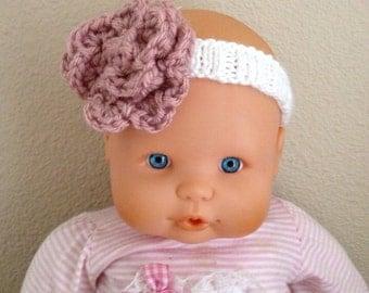 Handknit flower baby headband