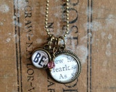 Be Fearless Necklace - Upcycled/Recycled Book Page