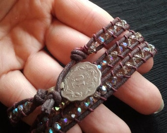Iridescent Sparkle 3 Wrap Bracelet-- Tribal Coin