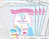 Alice in Wonderland Party Invitations, 5X7 Custom Invitations by Cutie Putti Paperie