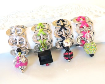 Beaded Soda Tab - NAPKIN RINGS - hot pink, lime green, black, silver  - Set of 4 - upcycled/recycled - gifts under 20.00