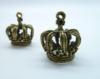 6pcs 18x22x24mm Antique Bronze 3D Bigger Crown Charm Pendant c1120