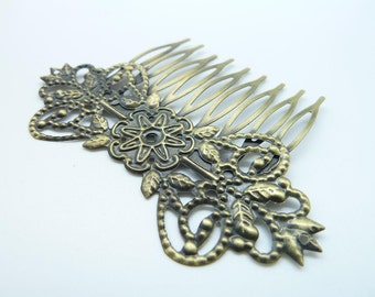 3pcs 52x75mm Antique Bronze Daisy Filigree  Hairpin Hair Comb C1933
