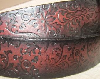 Customizable 1 1/2 inch, Fligree Design Leather Ring Belt, Medieval, Renaissance, SCA, Fantasy