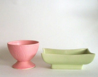 Vintage Spring Planters/ Pink and Green/ Atomic Era