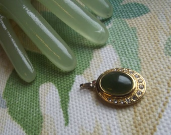"Vintage 1"" Goldtone Green Oval Stone Center Clear Rhinestone Pendant"