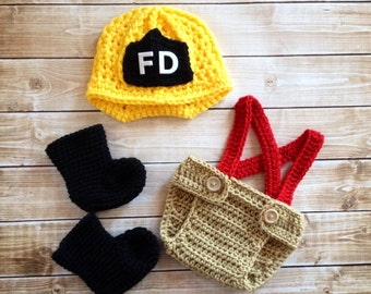 Firefighter Helmet in Red, Yellow, Black and Tan with Matching Boots and Diaper Cover Available in Newborn to 12 Month Size- MADE TO ORDER