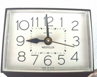 Dialite Westclox Alarm Clock Model 22212 Vintage Bedroom Decor Time Piece Classic Time Grandmas Clock