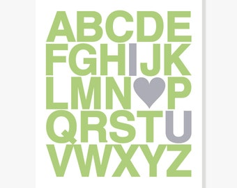 Alphabet Print, Alphabet Poster, Alphabet Nursery Wall Art, ABC Wall Art, Nursery Decor Kids Wall Art, ABC Alphabet Heart Poster, Valentine