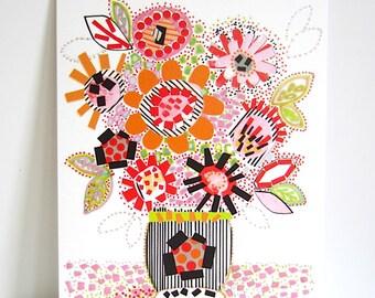 Blooming Marvellous - 8 x 11 inch Archival Print - Vintage Vase Full Of Flowers - Orange Floral Print