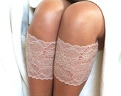 Lace Boot Cuffs, Faux Leg Warmers, or Boot Toppers for Women and Teens in Light beige with light braun thread.  Ready to ship.