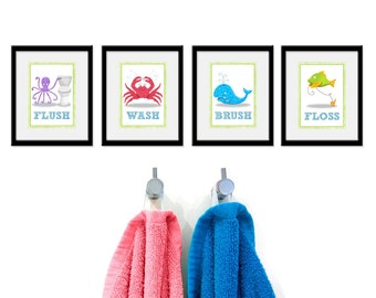 Kids Under the Sea Bathroom Prints - Set of 4 - Under the Sea Theme Kids Bathroom Rules