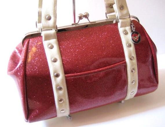 Fuchsia and White Sparkle Handbag - SAMPLE SALE