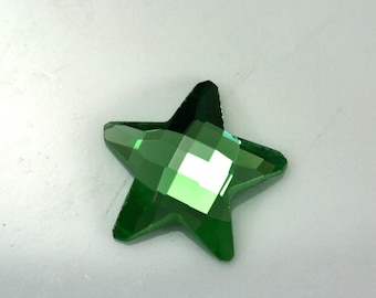 6 pcs 19 mm Green Faceted Mirror Glass Star Shape Cabochon