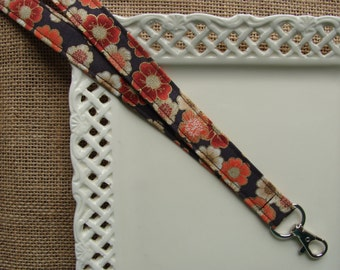 Fabric Lanyard - Gold Edge Cherry Blossoms