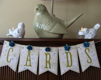 CARDS Banner -Shabby Chic Floral Pennants
