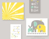 You Are My Sunshine, Elephant Print Set, Yellow, Green and Gray, girl and boy color, Custom Colors, UNFRAMED PRINTS (ES3Eygg - 002)
