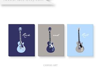 boy Wall Art, nursery decor Guitar CANVAS Art, Baby boy, blue nursery decor, Kids Wall Art in blue, gray, navy, b&w, set of 3 by YassisPlace