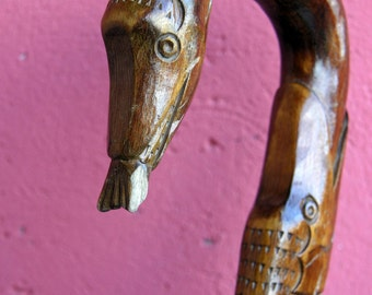Sale antique art nouveau carved wood walking stick cane for Walking fish for sale