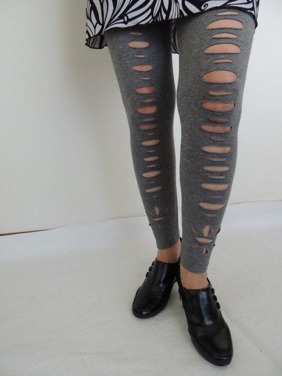 Ripped Yoga Pants Gray leggings  cut gray tights  shredded pants    Ripped Yoga Pants Gif