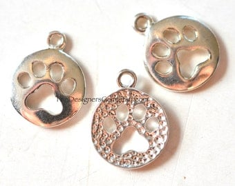 One Sterling Silver Open Work Dog Paw 15 x 12mm