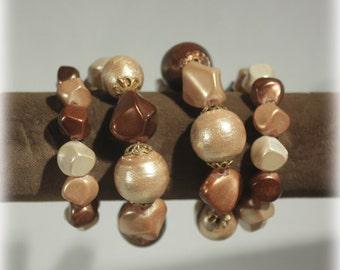 Chunky Mocha Wrap Bracelet, Chocolate Brown Bead Bracelet, Adjustable