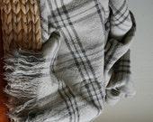 Linen Blanket--Dark Gray checks & Natural background --Throw--natural--home decor--Vintage