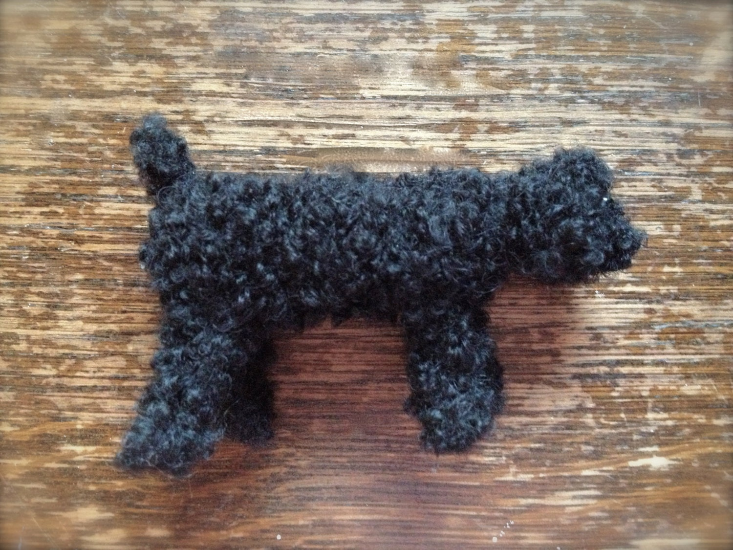 Minature Black Toy Poodle knitted in wool