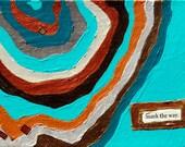 Mark the Way, mixed-media/acrylic on canvas, map art