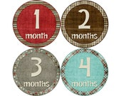 Baby Stickers Monthly, Boys Baby Bodysuit Stickers, Monthly Stickers, Baby Month Stickers, Monthly Bodysuit Stickers, Brown Red Blue (B017)