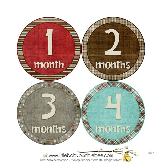 Baby Announcement, Monthly Baby Stickers, Monthly Baby Photos, Baby Gift, Baby Month Stickers, Monthly Stickers, Brown Red Blue (B017)