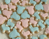 Baby cookies - baby strollers and one piece outfit cookies - 3 dozen mini cookies