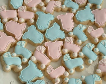 Baby cookies - baby shower cookies - baby announcement - baby strollers and one piece outfit cookies - 3 or 4 dozen MINI cookies
