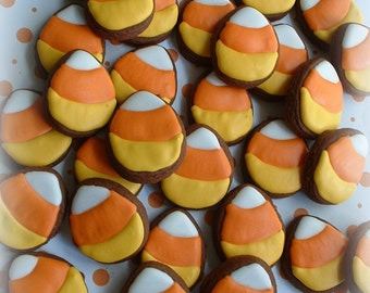 Fall cookies - Halloween cookies - Candy corn cookies - 2 dozen SMALL candy corn cookies - decorated cookies - fall cookies