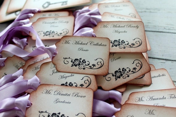 Vintage Inspired Escort Card Tags - Your Choice of Ribbon Color