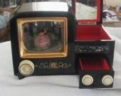 Vintage TV Japanese Black Lacquer  Jewelry Box -1930 - 40's - Bakelite Knobs