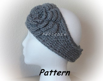 Instant Download to PDF Crochet PATTERN: Knit Look Headband with Irish Rose
