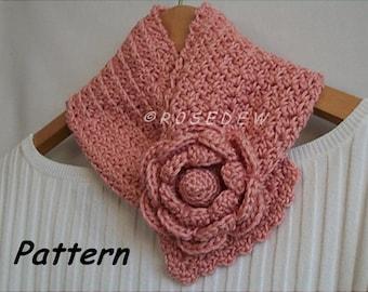 Instant Download PDF Crochet PATTERN: Springtime Rose Neck Warmer
