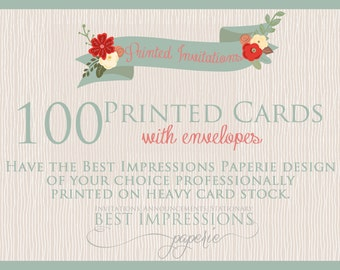 100 5x7 Cards Professionally Printed on Card Stock with Envelopes