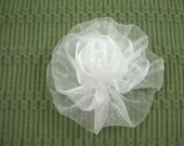 Organza Rose in White - Handmade Ribbon Flower - Brooch, Pin, Hair Clip, Shoe Clips - Pick Your Color