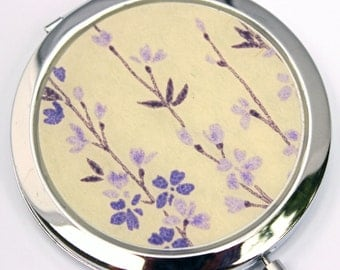 Lavender Chiyogami. Compact Mirror