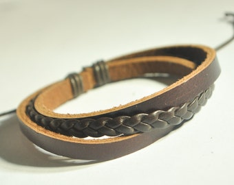 Brown flat braided cord with Brown leather bracelet