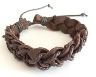 Dark Brown hemp cord braided on Brown leather Bracelet