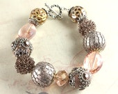 Dusty Rose Kashmiri and Mixed Media Bracelet, Chunky Bracelet, Blush Pink