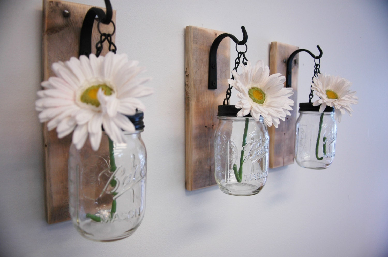 individual hanging mason jar wall decor by pineknobsandcrickets. Black Bedroom Furniture Sets. Home Design Ideas