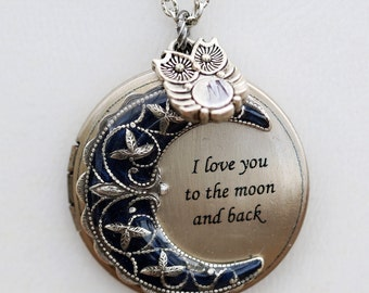 Owl Locket,Necklace,Pendant,Jewelry,Moonlight Owl,jewelry gift,Silver locket-I love you to the moon and back,persoanlize,monogram