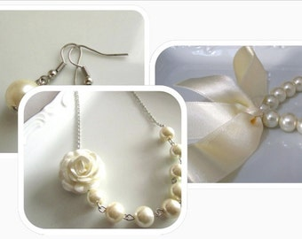 Pearl necklace, pearl bracelet and earrings set, ivory pearl bridal set with ivory rose and ribbon, bridal jewelry, bridesmaids jewelry