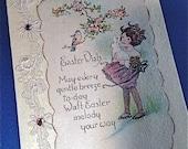 1930's Glittered Easter Cards, German Glass Glitter, Rhinestones, Lace Trim